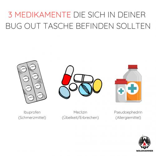 3 Medikamente, die sich in der Bug Out Tasche befinden sollten